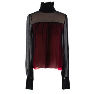 Fendi Silk Black & Red High Neck Sheer Blouse