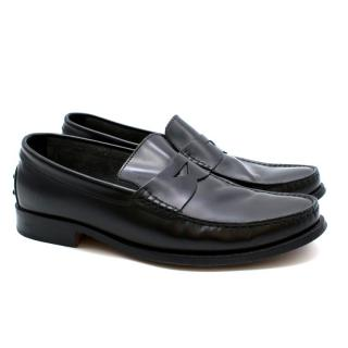 Tod's Black Leather Penny Loafers