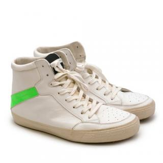 Philippe Model Neon Green High Top Leather Trainers