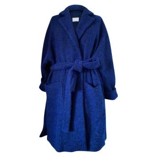 Marina Rinaldi Blue Virgin Wool & Angora Wrap Coat