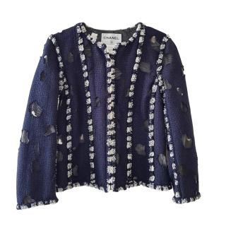 Chanel Blue Distressed Chaos to Couture Boucle Jacket