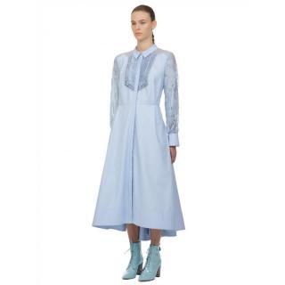 Self Portrait Blue Lace Panel Midi Shirt Dress
