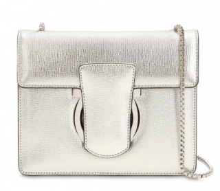 Ferragamo Thalia Metallic Leather Shoulder Bag In Silver