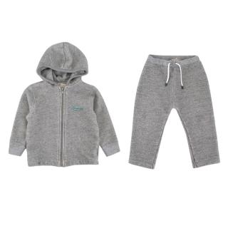 Bonpoint Grey Knit Embroidered Tracksuit