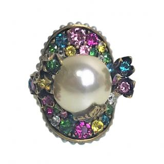 Gucci multicoloured crystal ring with faux pearl