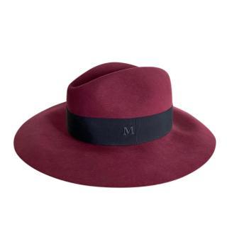 Maison Michel Burgundy Felted Hat