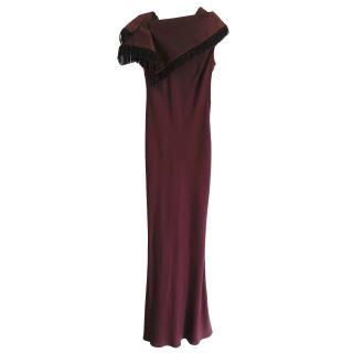 John Galliano Plum Crepe Bias Cut Gown