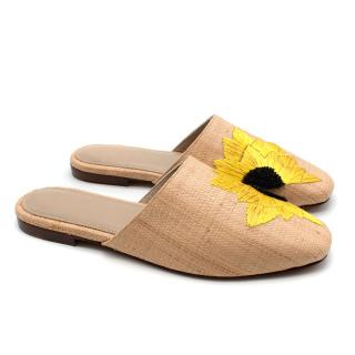 Zyne Embroidered Sunflower Woven Slip-ons