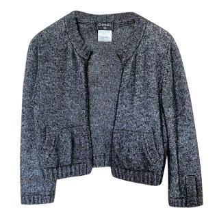 Chanel Grey Cashmere & Silk CC Embroidered Cardigan