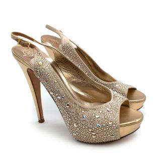 Gina Gold Leather Swarovski Crystal Peep-Toe Blosson Sandals