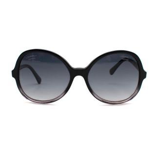 Chanel Oval Black Gradient Oversize Sunglasses
