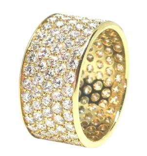 Bespoke Yellow Gold Diamond Set Wide Band Ring