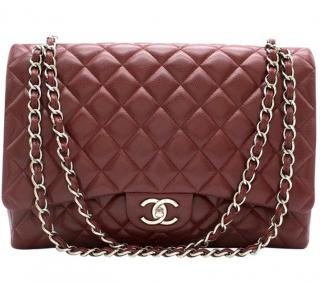Chanel Burgundy Caviar Leather Maxi Double Flap