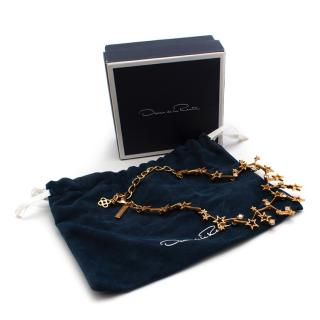 Oscar de la Renta Gold Tone Crystal Embellished Star Necklace