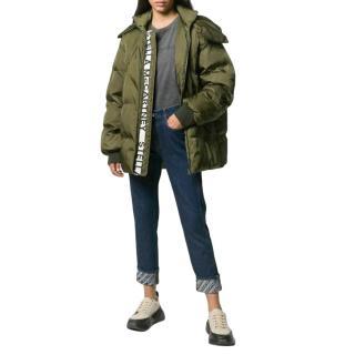 Stella McCartney Khaki Hooded Puffer Coat