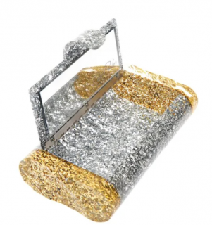 Edie Parker Lara with Backlit Ice Ends Clutch in Silver Confetti