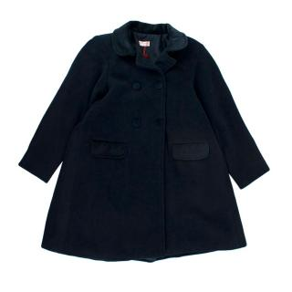 La Coqueta Navy Wool Double Breasted Buttoned Coat