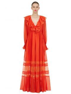 Self Portrait Orange Chiffon Maxi Dress
