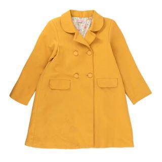 La Coqueta Yellow Double Breasted Cotton Longline Coat