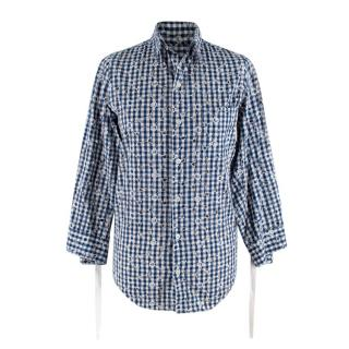 Junya Watanabe Plaid Cotton Floral Embroidered Shirt