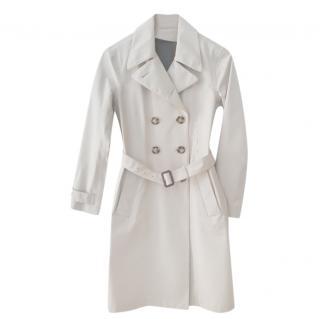 Prada Sport Cream Silk Waterproof Lined Trench Coat