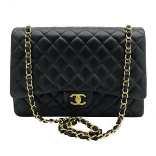 Chanel Black Lambskin Quilted Maxi Double Flap