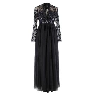Needle & Thread Black Sequin Chiffon Maxi Dress