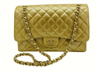 Chanel Gold Quilted Patent Leather Maxi Single Flap Bag