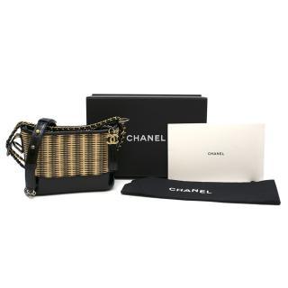 Chanel Gabrille Hobo Bag in Natural Rattan & Glossy black calfskin