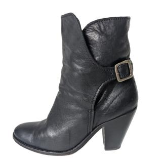 Zadig & Voltaire Black Buckle Detail Block Heel Ankle Boots