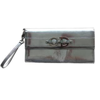 Christian Dior VIntage Metallic Silver Mirrored Wallet