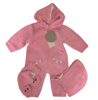 Stella McCartney Kids Pink Knit Dragon Baby Grow Bonnet & Booties