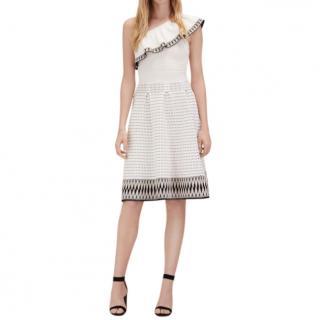 Maje White Rasta Woven One Shoulder Skater Dress