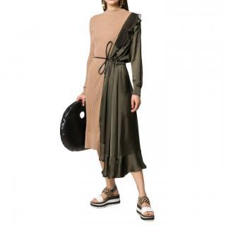 Sacai Paneled Asymmetric Cotton, Satin And Tulle Midi Dress In Green