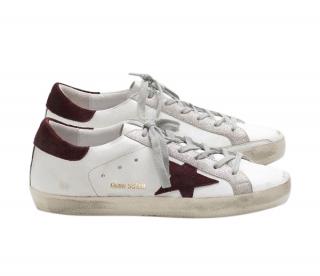 Golden Goose Burgundy/White Superstar Sneakers