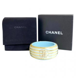 Chanel Blue/Gold Striped Resin CC Logo Cuff