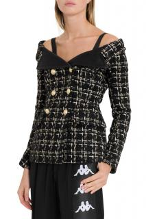 Faith Connexion Tweed Off-Shoulder Double Breasted Sailor Jacket