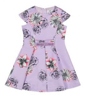 Young Versace Purple Floral Print Dress