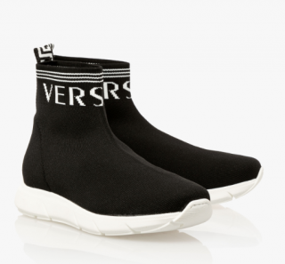Versace Logo Sock Sneakers - Black