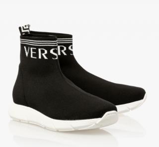 Versace Logo Sock Sneakers - Black