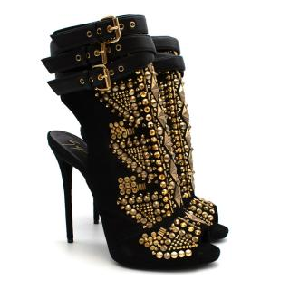 Giuseppe Zanotti Black Gold Studded Stiletto Cut-Out Boots