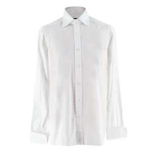 Tom Ford Classic Fit White Cotton Shirt with Double Cuffs