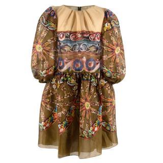 Dolce & Gabbana Green Silk Printed Paisley Puff Sleeve Mini Dress