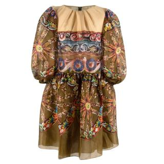 Dolce & Gabbana Green Silk Printed Paisley Puff Sleeve Mini Dress