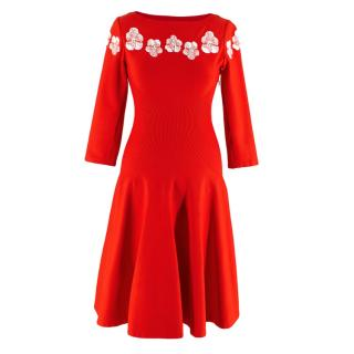 Alaia Red Stretch Knit Floral Embroidered Skater Dress