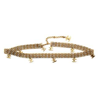 Chanel CC Drop Gold Tone Chain & Silver Leather Woven Belt