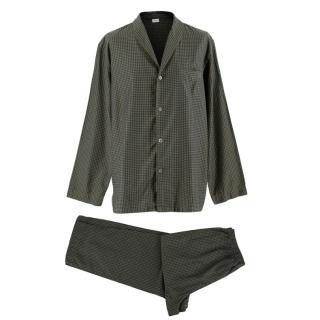 Zimmerli Khaki/Navy Houndstooth Pyjamas