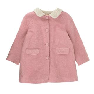 Caramel Pink Wool Blend Single Breasted Coat
