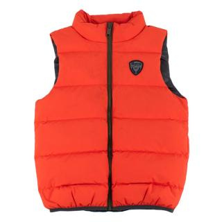Bonpoint Neon Orange Quilted Zipped Puffer Vest