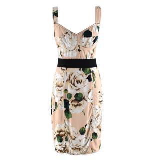 Dolce & Gabbana Peach Floral Bustier Dress